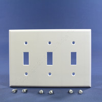 Leviton White 3-Gang Toggle Switch Plastic Cover Wall Plate Switchplate 88011