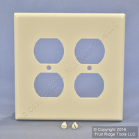 New Leviton MIDWAY 2-Gang Light Almond Receptacle Wallplate Outlet Cover 80516-T