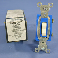 Pass & Seymour Light Almond COMMERCIAL Toggle Light Switch 15A CS115-LA Boxed