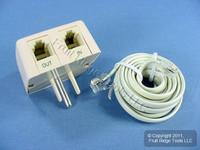 Leviton Ivory Phone Surge Suppressor Protector Modular Telephone C2426-I
