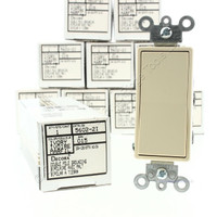10 Leviton Ivory DOUBLE POLE Decora Smooth Rocker Light Switches 15A 120/277VAC Residential Grade Bulk 5602-2I