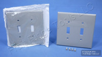 2 Leviton Gray 2-Gang Midway UNBREAKABLE Toggle Switch Cover Wallplates PJ2-GY