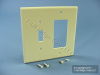 Leviton Ivory Combination Toggle Switch Plate Decora GFCI Receptacle Wallplate Cover PJ126-I