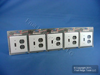 5 Leviton White UNBREAKABLE Switch/Outlet Wallplate Receptacle Cover Switchplates 80705-W