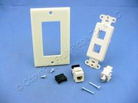 Leviton Ivory Decora Quickport CATV Cable & Phone Jack Wallplate F-Type 41658-I