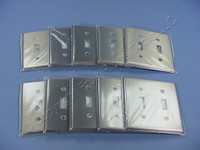10 Cooper ANTIMICROBIAL Stainless Steel Switch Cover Toggle Wallplates AH93072AM
