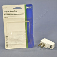 "Eagle White ""Super Plug"" Right Angle Side Mount 15A 125V Non-Polarized Non-Grounding NEMA 1-15P BP2600W"