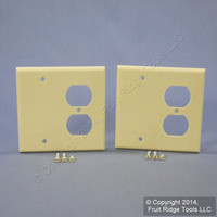 2 Leviton Ivory EXTRA DEEP Combination Duplex Receptacle Outlet Cover and Blank Wall Plates 86308