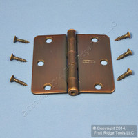 "National Hardware #V512RC Antique Bronze Steel Round Corner 3-1/2"" Removable Pin Cabinet Door Hinge N337-063"