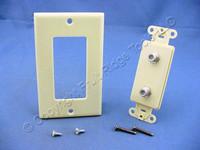 Leviton Ivory Decora DUAL CATV Coaxial Cable Jack Flush WallPlate Duplex 40682-I