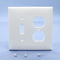 Leviton White Midway UNBREAKABLE Toggle Switch Duplex Outlet Cover Wallplate PJ18-W