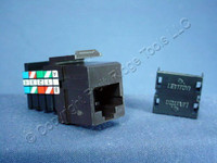 Leviton Brown Keyed Cat 3 Snap-In Quickport Data Voice Jack Cat3 RJ45 Telephone 41108-KB3
