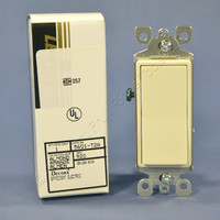 New Leviton Almond Decora Rocker Wall Light Switch 15A 120/277VAC Single Pole Residential Grade 5601-T2A