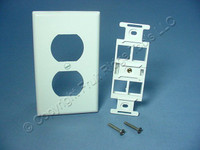 Leviton Quickport Snap-In 4-Port 1-Gang Wallplate Insert Duplex 106 White 40898-W