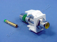 Leviton Quickport White RCA Jack Coaxial Cable Compression Connector Yellow Inner Barrel 40782-RYW