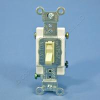 Leviton Ivory 3-WAY COMMERCIAL Framed Toggle Switch 20A 120/277V Bulk 54523-2I