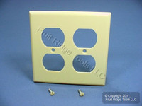 New Leviton Ivory 2-Gang Outlet Cover Duplex Receptacle Plastic Wallplate 86016