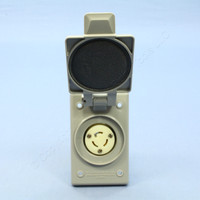 Leviton L5-15 Gray Weather Resistant Cover Locking Flanged Outlet Receptacle NEMA L5-15R L5-15 4715-FWP