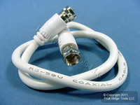 """New Leviton White 18"""" Coaxial Video Cable RG59 Plugs 75-ohm F-type Wire C5851-1W"""