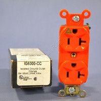 Pass & Seymour Orange ISOLATED GROUND Outlet Receptacle 20A IG6300-CC