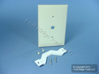 "Leviton Light Almond .406"" Hole Strap-Mount Phone Cable Wallplate Telephone Cover Plate PJ11-T"