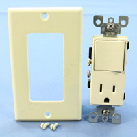 Leviton Almond Decora Combination Rocker Light Switch & Receptacle Outlet 15A 5678-A