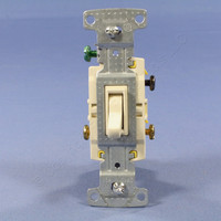 Hubbell Lt Almond Residential 3-Way Toggle Wall Light Switch 15A 120V Bulk RS315LA