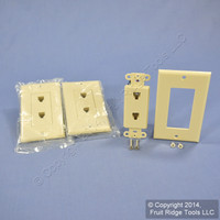 3 New Leviton Ivory Decora DUAL Telephone Wall Plates DUPLEX Phone Jacks C2447-I