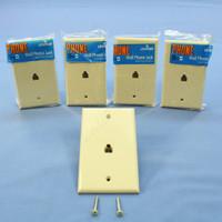 5 New Leviton Ivory 4-Wire Phone Jack Wallplates RJ11 Modular Telephone C0249-I