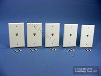 5 Leviton White Phone Jack Wallplates 6-Wire Telephone C2675-W