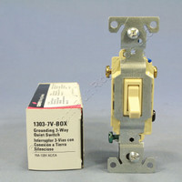 New Cooper Wiring Ivory Toggle Wall Light Switch 3-WAY Quiet 15A 120V 1303-7V