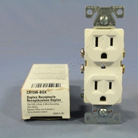 New Cooper White COMMERCIAL Grade Outlet Receptacle NEMA 5-15R 15A 125V CR15W