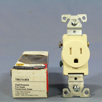 Cooper Almond TAMPER RESISTANT Commercial Single Receptacle NEMA 5-15R 15A TR817A