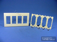 Leviton Ivory 4-Gang Decora Screwless Snap-On Wallplate Cover GFCI GFI Polycarbonate Plastic Commercial Grade 80312-I