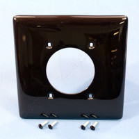 "Hubbell Brown Mid-Size UNBREAKABLE 2.16"" Power Outlet Cover 2-Gang Single Receptacle Wallplate NPJ703"
