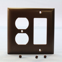 Pass and Seymour Trademaster® Brown 2-Gang Duplex Outlet Decorator Switch GFCI Nylon UNBREAKABLE Wallplate Cover TP826