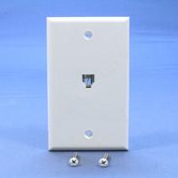 Leviton White 4-Wire Type 625B4 Jack Wallplate RJ11 Modular Telephone C0249-W