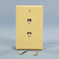 New Leviton Ivory DUPLEX Phone Jack Flush Mount Wallplate Telephone 6P4C C0254-I