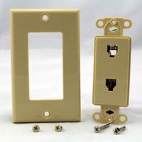 Leviton Ivory Decora DUAL Telephone DUPLEX Phone Jack Wallplate C2447-I
