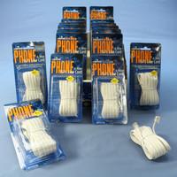 18 Leviton White 15' Phone Line Extension Cords 6-Wire RJ11 RJ14 RJ25 C2613-15W