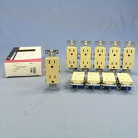 10 Cooper Ivory Decorator Outlet Duplex Receptacles NEMA 5-15R 15A 125V 1107-9V