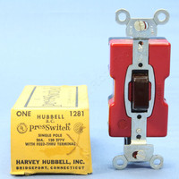 Hubbell Brown Presswitch Single Pole 20A 120 277V With Feed-Thru Terminal 1281
