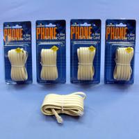 5 Leviton Ivory 15' Phone Line Extension Cords 6-Wire RJ11 RJ14 RJ25 C2613-15I