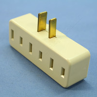 Leviton Ivory Polarized Plug-In Triple Tap Outlet Adapter NEMA 1-15R 15A 65-I