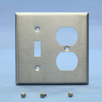 Leviton 2-Gang Switch Plate Receptacle Outlet Cover Stainless Steel Wallplate 84005