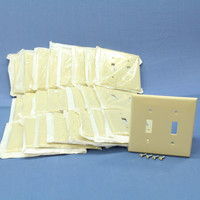 25 Leviton Ivory UNBREAKABLE 2-Gang Switch Cover Wallplate Switchplates 80709-I