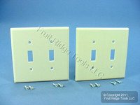2 Leviton Ivory MIDWAY 2-Gang Toggle Switch Cover Wallplates Switchplate 80509-I