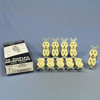 10 Pass & Seymour Ivory Trademaster Duplex Receptacle Outlets 15A NEMA 5-15R 3232-I