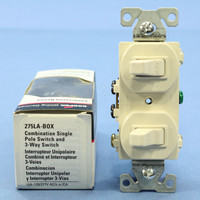Cooper Light Almond DOUBLE Wall Toggle Light Switch Duplex 15A Single Pole 3-Way 275LA
