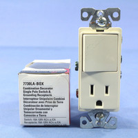 Cooper Light Almond Combination Single Pole Decorator Rocker Wall Light Switch Receptacle Outlet NEMA 5-15R 15A 7730LA